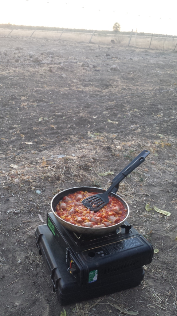 Cooking on the road - sausage casserole