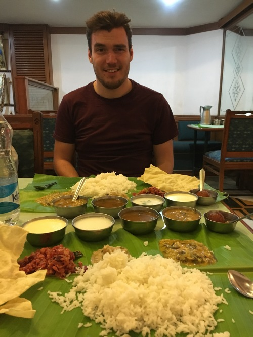 Our last meal in Bangalore was completely unknown to us and ridiculously spicy!